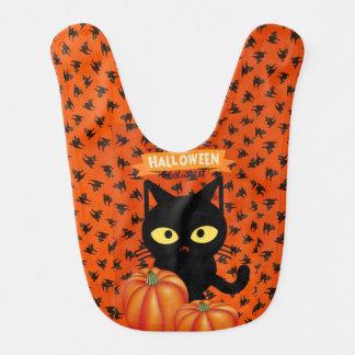 Cute Halloween Black Cat Baby Bib