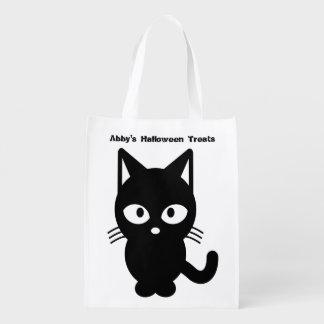 Cute Halloween Black Cat Customise It Reusable Grocery Bag