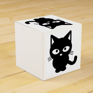 Cute Halloween Black Cat, Friendly Kitty Wedding Favour Boxes
