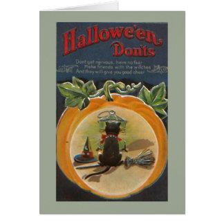 Cute Halloween Black Cat Greeting Card