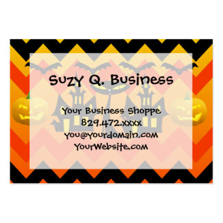 Cute Halloween Black Cat Haunted House Chevron Business Card