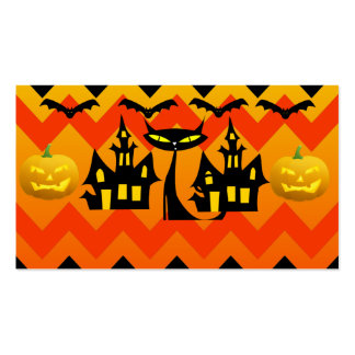 Cute Halloween Black Cat Haunted House Chevron Business Card Template