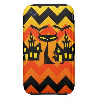 Cute Halloween Black Cat Haunted House Chevron Tough iPhone 3 Cases