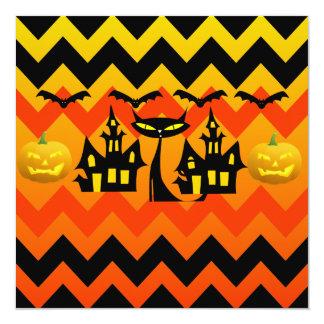 "Cute Halloween Black Cat Haunted House Chevron 5.25"" Square Invitation Card"