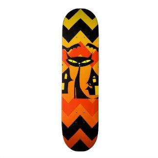 Cute Halloween Black Cat Haunted House Chevron Custom Skateboard