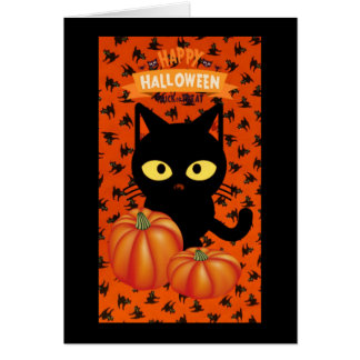 Cute Halloween Black Cat Note Card for Kids