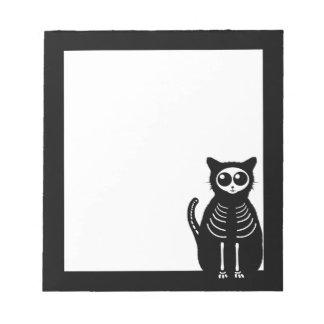 Cute Halloween Cartoon Cat Skeleton Notepad