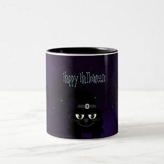 Cute Halloween Cat & Spiders Magical Night Two-Tone Coffee Mug