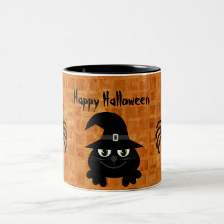 Cute Halloween Cat & Spiders Two-Tone Mug