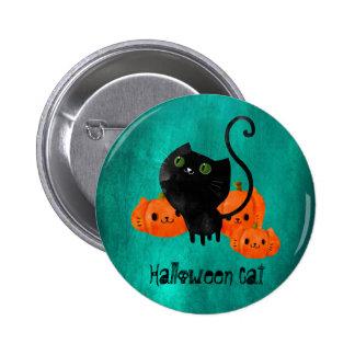 Cute Halloween cat with pumpkins 6 Cm Round Badge