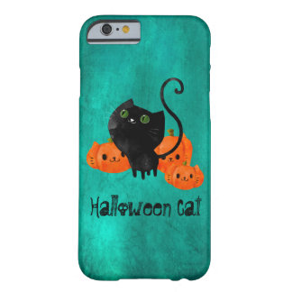 Cute Halloween cat with pumpkins Barely There iPhone 6 Case