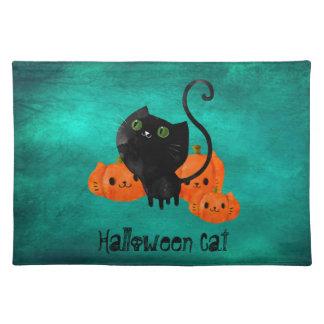 Cute Halloween cat with pumpkins Placemat