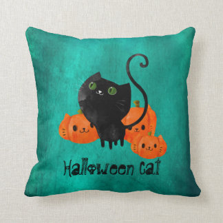 Cute Halloween cat with pumpkins Throw Cushions