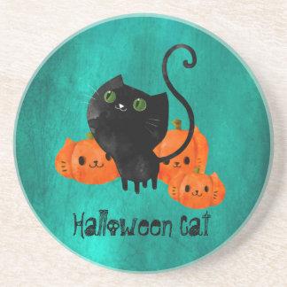 Cute Halloween cat with pumpkins Drink Coasters