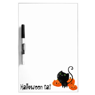 Cute Halloween cat with pumpkins Dry Erase Whiteboards