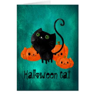 Cute Halloween cat with pumpkins Greeting Card