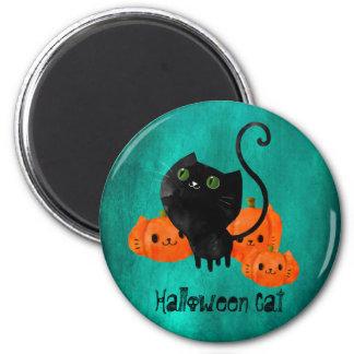 Cute Halloween cat with pumpkins 6 Cm Round Magnet