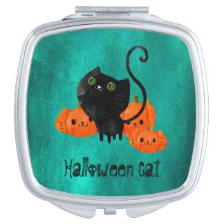 Cute Halloween cat with pumpkins Makeup Mirrors