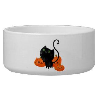 Cute Halloween cat with pumpkins Pet Water Bowl