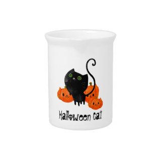 Cute Halloween cat with pumpkins Pitcher