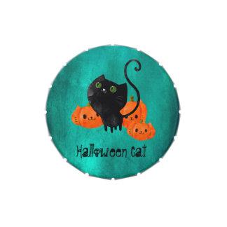Cute Halloween cat with pumpkins Candy Tin