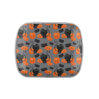 Cute Halloween cat with pumpkins Jelly Belly Candy Tin