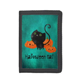 Cute Halloween cat with pumpkins Tri-fold Wallets