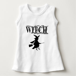 Cute Halloween Flying Witch Black Typography Dress