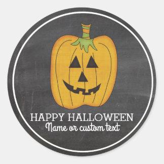 Cute Halloween Funny Pumpkin Jack O Lantern Custom Classic Round Sticker