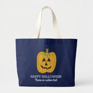 Cute Halloween Funny Pumpkin Jack O Lantern Custom Large Tote Bag