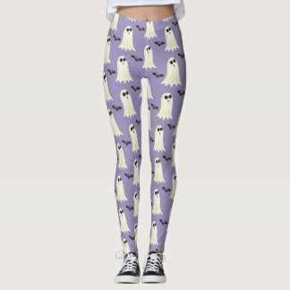 Cute Halloween Ghost & Bat Print Leggings