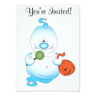 Cute Halloween Ghost Cartoon 14 Cm X 19 Cm Invitation Card