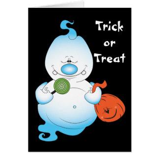Cute Halloween Ghost Cartoon Greeting Card