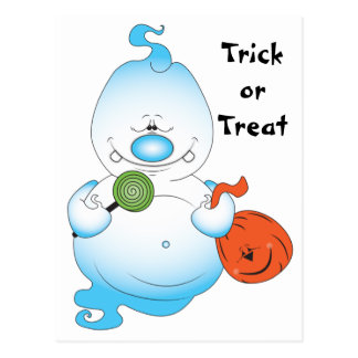 Cute Halloween Ghost Cartoon Postcard