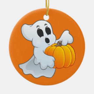 Cute Halloween Ghost with pumpkin Ceramic Ornament