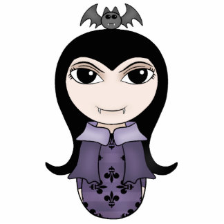 Cute Halloween gothic vampire girl in purple Photo Sculpture Magnet