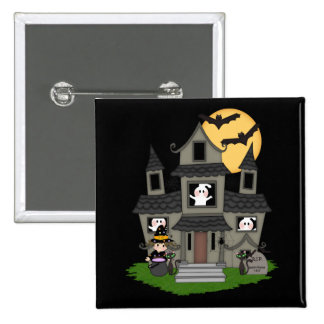 Cute Halloween haunted house and little witch 15 Cm Square Badge