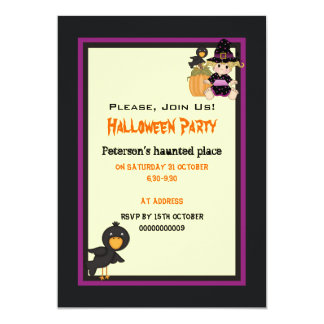 "Cute Halloween haunted house and little witch 5"" X 7"" Invitation Card"