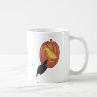 Cute Halloween Jack O'Lantern and Crow Basic White Mug