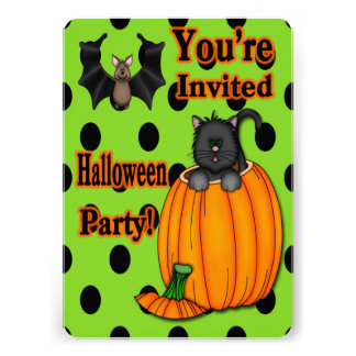 "Cute Halloween Kitten, Bat 5""x7"" Invitations"