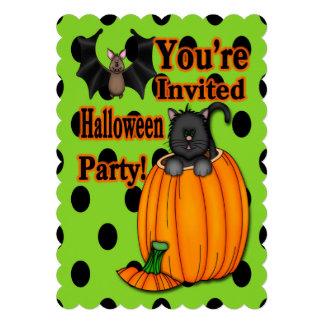 Cute Halloween Kitten, Bat Scalloped Style Invite