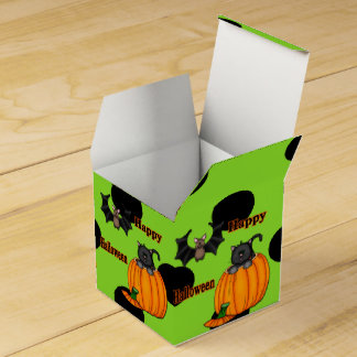 Cute Halloween Kitten, Bat Square Favor Boxes