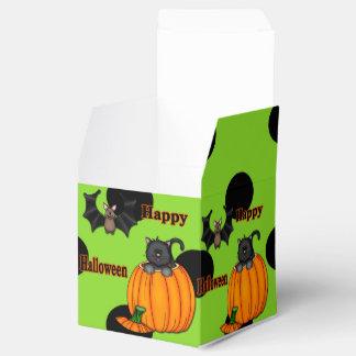 Cute Halloween Kitten, Bat Square Favor Boxes Wedding Favour Box