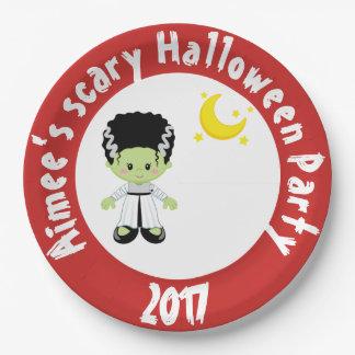 Cute Halloween Monster Girl Halloween Party Paper Plate