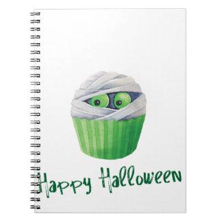 Cute Halloween mummies cupcakes Notebook