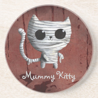 Cute Halloween Mummy Cat Drink Coasters