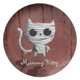 Cute Halloween Mummy Cat Dinner Plates