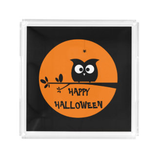 Cute Halloween Owl Acrylic Tray