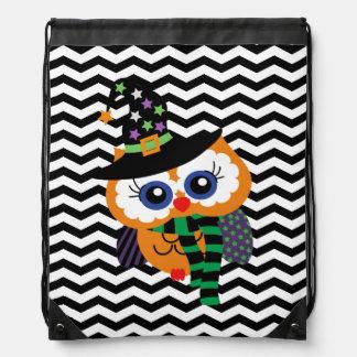 Cute Halloween Owl Chevron Zigzag Drawstring Bag