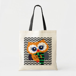 Cute Halloween Owl Chevron Zigzag Tote Bag